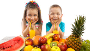 Children Drinking Fruit Juice